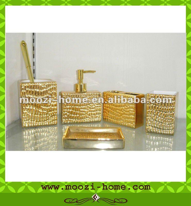 Luxe or céramique salle de bain accessoires setLots de salle de bain
