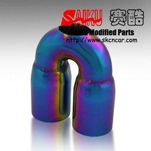 racing auto part titanium blue universal exhaust muffler