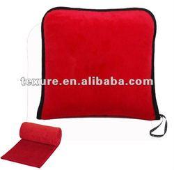 Fleece Travel Blanket in a zip-up bag, travel pillow blanket