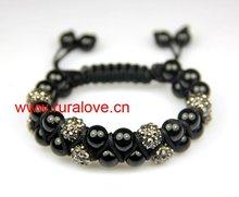 2 rows rhinestone disco balls woven shamballa bracelet for USA market