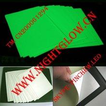 Lemon green glowing photo luminescent plastic sheet PVC adhesive W20cm x L30cm 100pages per bag