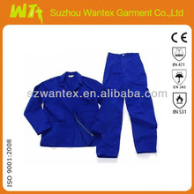 Royal blue two piece T/C safety work suits