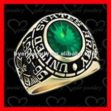 unique custom military rings CZ stianless steel jewelry with gold plating{Army_R02-H003}