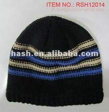 (RSH12014) Custom Stripes Knitted Men's Winter Hat with Fleece Lining