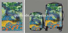 2015 Fashion Design and Colorful Transparent Clear Super Light Four Wheels 100% Pure PC Travel Bag