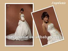 2433 Guangzhou Stephanie Ruffle Bridal Dress Emboidered Satin Chapel Train Wedding Gown
