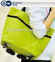 Fashion foldable trolley shopping bag polyester