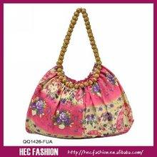 2012 Fashion Bohemian floral Cloth bag with beads Handle,QQ1426