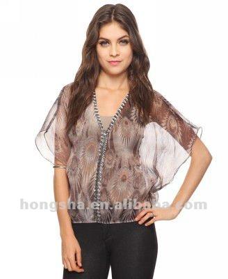 Moda de blusas em chifon HSB002-Blusas e tops-ID do produto:595750364 ...