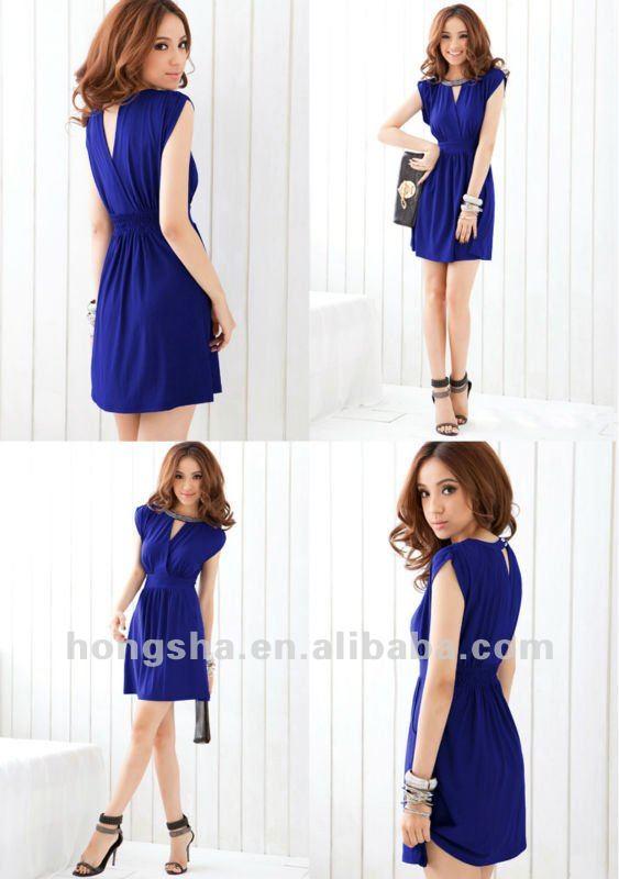 los últimos diseños de vestido de azul oscuro vestido de tafetán para las mujeres hsx008