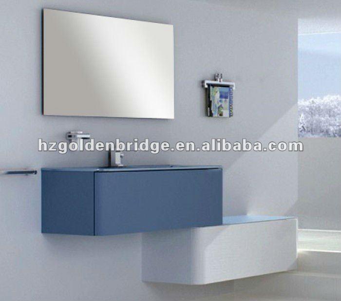 Azul e branco modernos banheiro vaidades gabinete pvc GBP890Toucador em banh -> Gabinete De Banheiro Azul