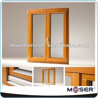 German style wood solid timber double panels casement window