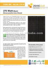 Znshine Black Mono-crystaline Solar Panel/PV Module Mono 250W 255W 260W 265W 270W 275W