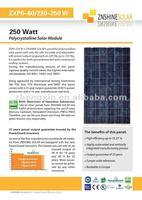 Znshine Poly-crystaline Solar Panel/PV Module Poly 220W 225W 230W 235W 240W 245W 250W