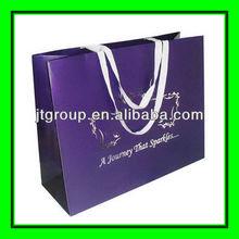 logo silver hot stamping shopping use offset printing Ribbon Band Paper bags