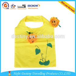 Wholesale cute flower shape custom reusable folding bag for shopping