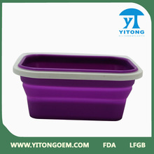 environmental purple collapsible silicone lunch box/microwave food container