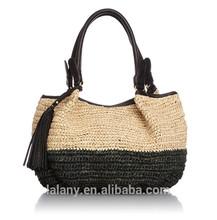 Lelany 2014 hot selling lady crochet tote bag/straw woven handbag