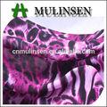 Mulinsen tekstil hafif 100% polyester mor leopar desenli ipek şifon kumaş