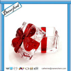 HOT Sale Beautiful handmade crystal square glass candy jar with ribbon on lid -- Red!