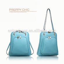 Estilo simple bolsas para adolescentes de las muchachas de color azul mochila