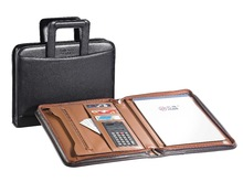 A4 zip pu leather portfolio with handle