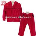 oem ماركة أزياء في سن المراهقة 2014 المخملية الحمراء الجملة الشتاء الفتيات ملابس الطفل مجموعة بوتيك