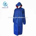 venta al por mayor a prueba de polvo azul lluvia de largo abrigo con capucha