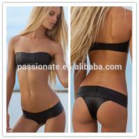 2014 ladies sex beach open sheer black neoprene bikini swimwear swimsuit