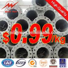 hot dip galvanized monopole metal steel post exporter 69KV 30ft and 35ft