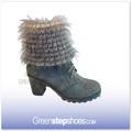 alto talón superior de piel de señora de la moda de invierno botas