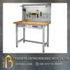 Custom hardwood top workbench steel frame stainless steel bench