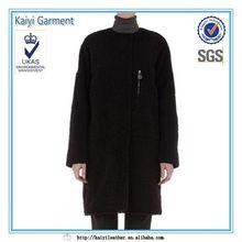 fashion wool-blend design leather back long black coat women
