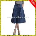 Novo design um- linha tall cintura aberto garfo saia/moda mulher longa saia jeans, duas cores