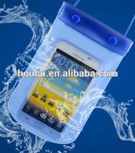 transparent blue PVC cell phone dry pouch, clear bag case