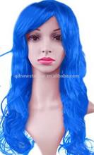 Fashion Long Wavy Fancy Dress Synthetic Party Wigs, Blue Cosplay Wigs