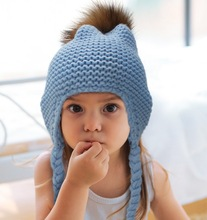 2015 New Year Product Cute Fashion Knit Baby Hats For Child Kids Winter Wholesale Fur Pom Pom Crochet Baby Hats
