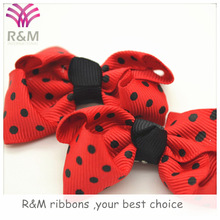 Ruibeis red fabric polka dots printed grosgrain ribbon bow tie