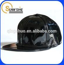 custom fashion mens stylish plain black leather snapback cap in china