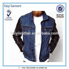 Custom cheap leather sleeves denim jacket for men