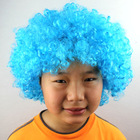 Hot sale fashion sky blue color Cheap afro curly Synthetic Machine Made wig