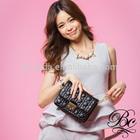 Top quality black fashion studded PU leather women's hand bag