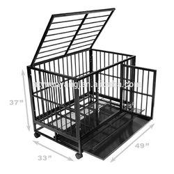 folding heavy duty black dog kennels two doors large animal cage