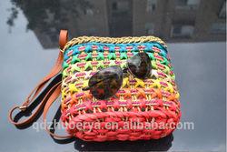 colorful crochet mix material straw women Gender crossbody shoulder bag qingdao made