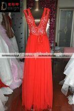 Real Design Red Sleeveless Tulle V Neck Floor Length Evening Dress Online Shopping