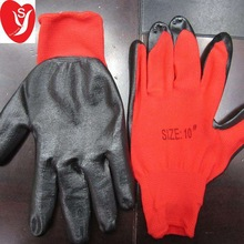 13G Nylon Liner 1/2 red/black nitrile coated working glove nitrile glove
