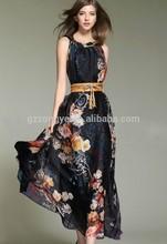 The new chiffon printing fashion dress woman maxi dress