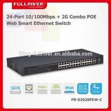 power over ethernet 24-Port 10/100Mbps + 2G Combo POE Web Smart Ethernet Switch