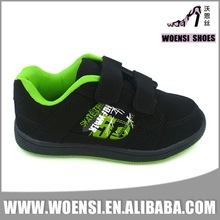 popular black kids nubuck printed skateboard shoes with velcro