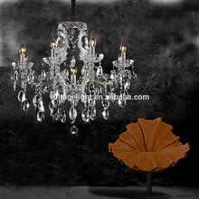 Modern Delicate Candelabra Clear/Amber/Smoke Crystal Candle Chandelier Pendant Lighting